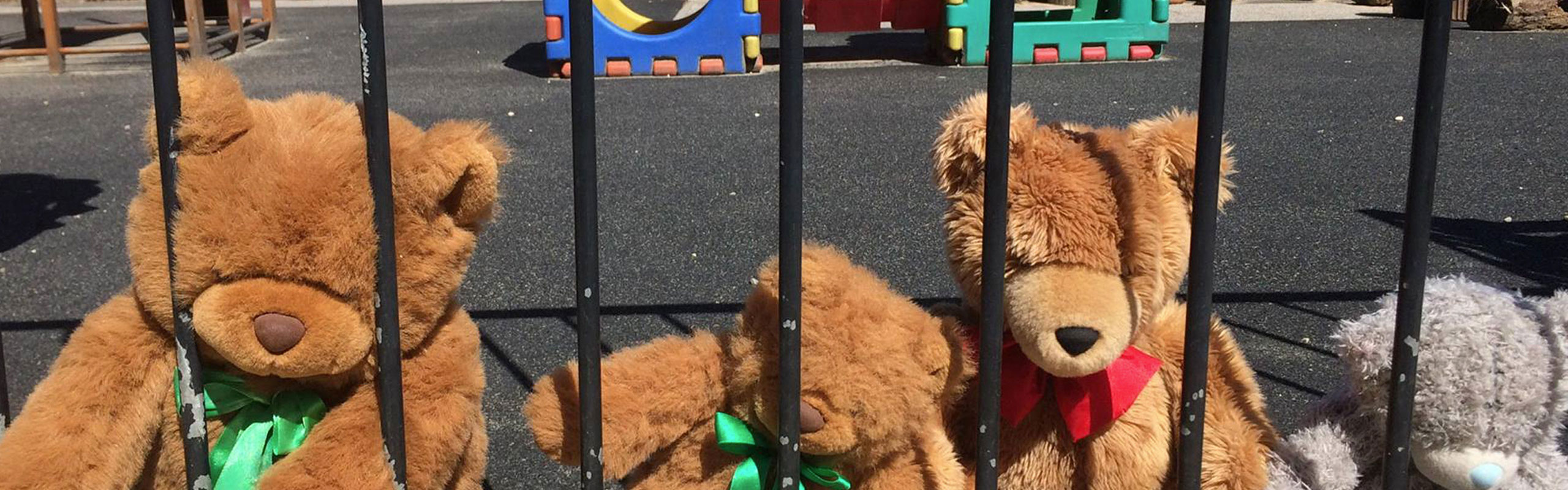 Teddys at a school fence with play equipment in the background.